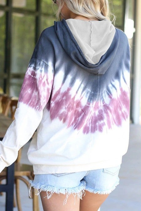 Navy Wine & White Feathered Tie Dye Oversized Kangaroo Pocket Hoodie