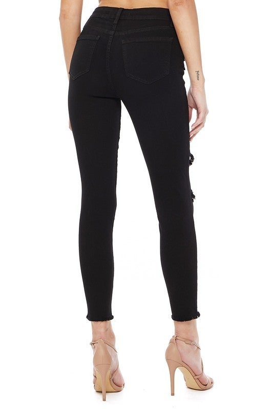 Black High Rise Distressed Cropped and Frayed Hem Skinny Jeans