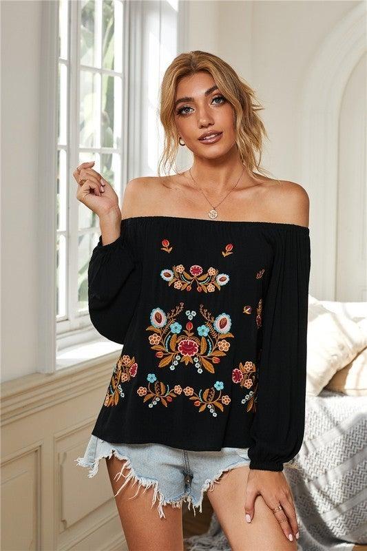 Black Embroidered Off Shoulder Bohemian Floral Blouse