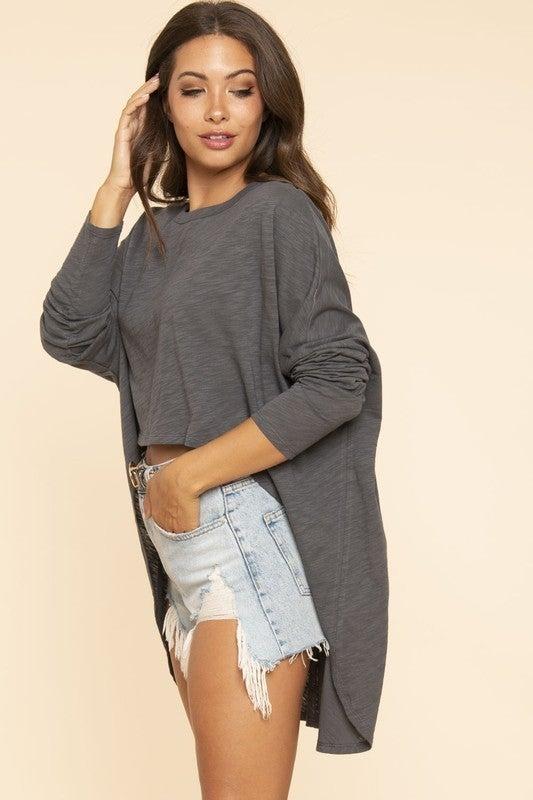 High Low Long Sleeve Oversized Slub Knit Top