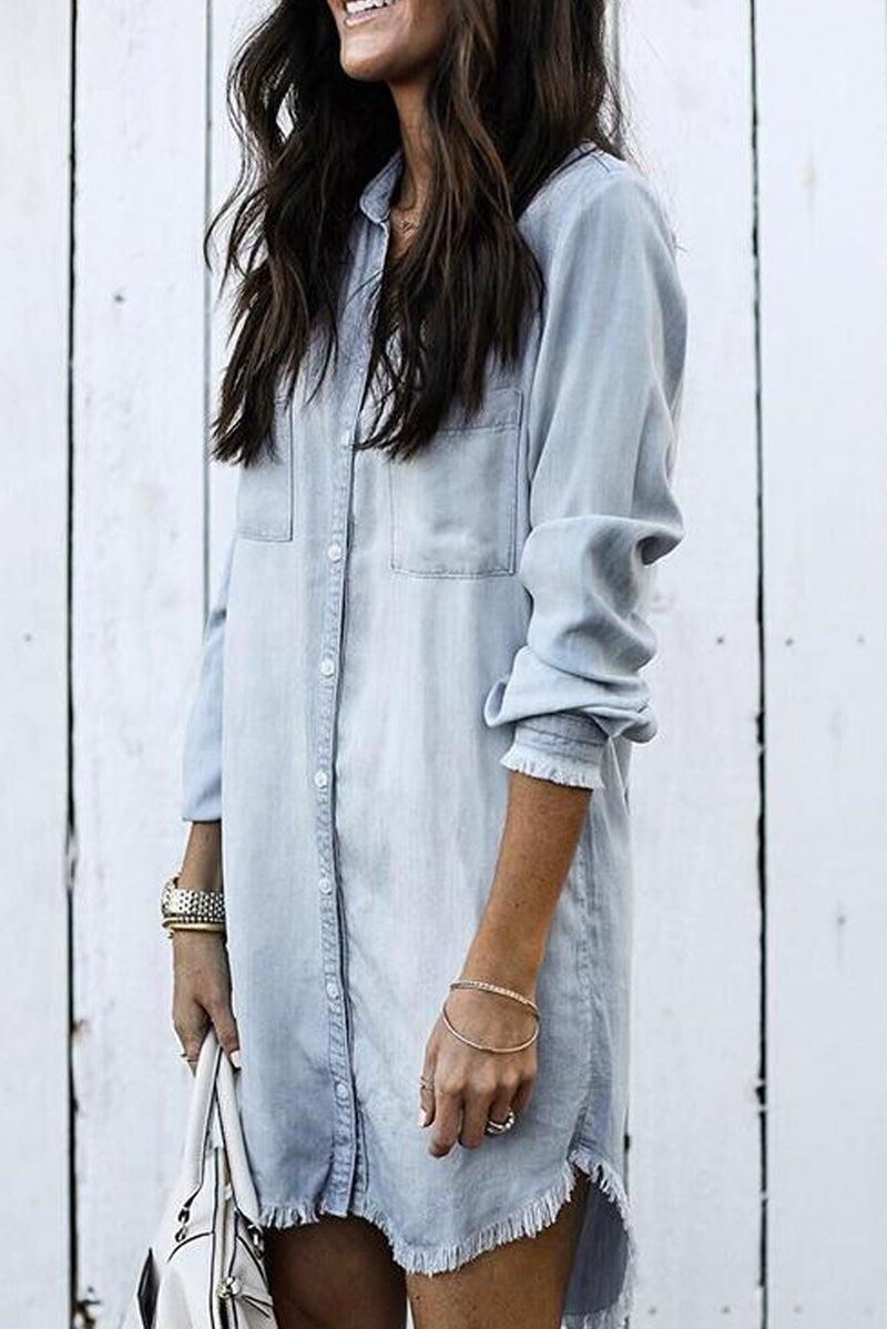 Denim Long Sleeve Frayed Hem Shirt Dress