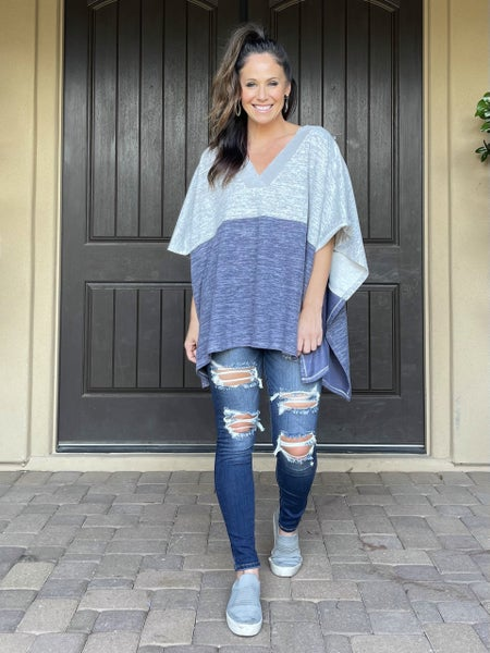 Blue & Grey Color Block Frayed Neck Sweater Poncho