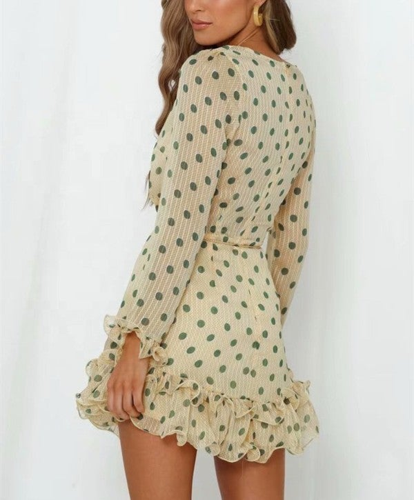 Cream & Green Polka Dot Deep V Belted Ruffle Bottom Mini Dress