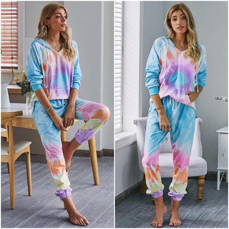 Tie Dye Hoodie & Jogger Kangaroo Pocket Loungewear Set