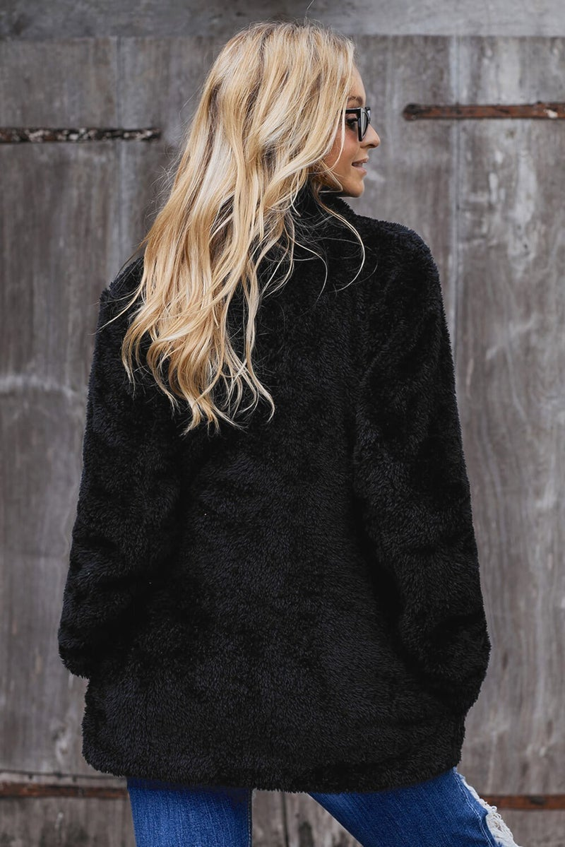 Sherpa Long Line Pocketed Open Front Cardigan Jacket
