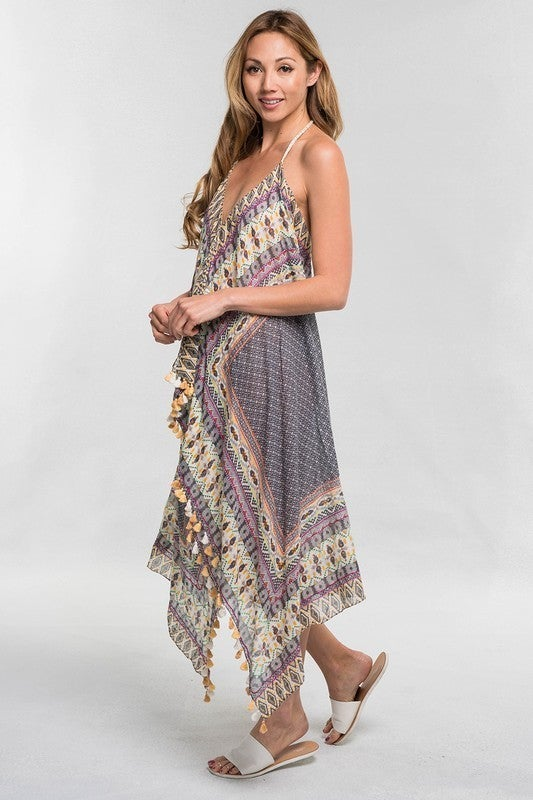 Scarf Tie Back Halter Dress/Beach Cover up