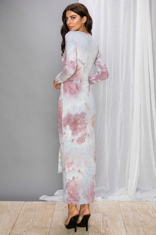Lilac Tie Dye Waist Tie Long Sleeve Midi Dress