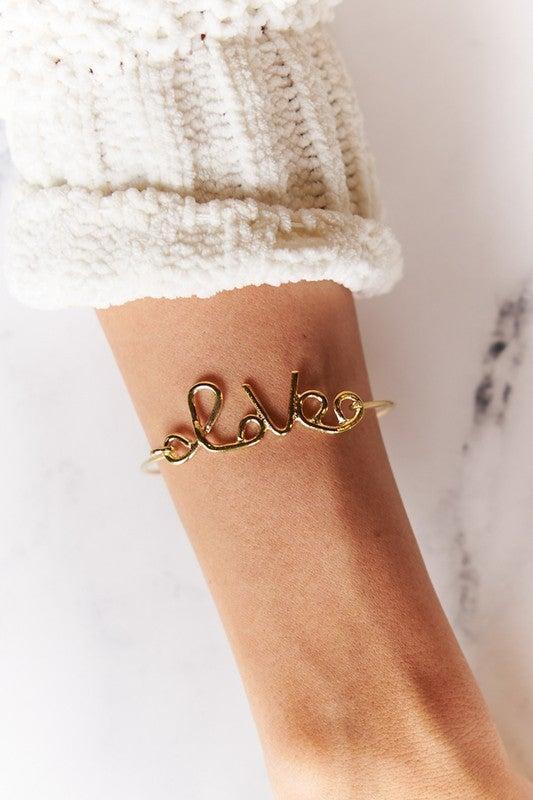 Gold LOVE push closure Wrap Bracelet