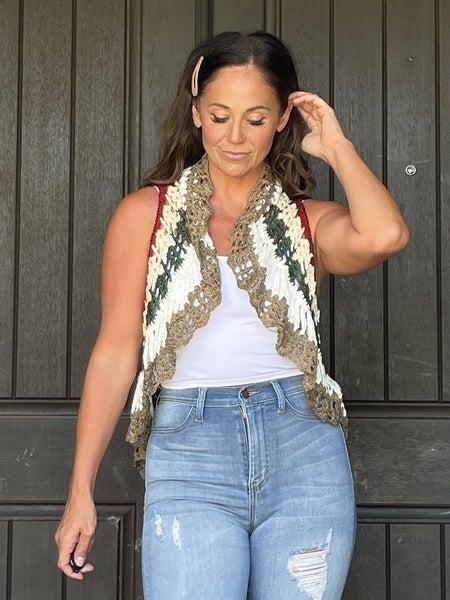 Mocha Aqua Red & Green Cap Sleeve Open Front Crochet Knit Cardigan