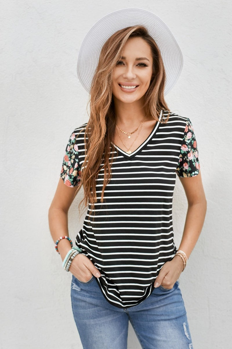 Black & White Stripe Floral Short Sleeve Tee