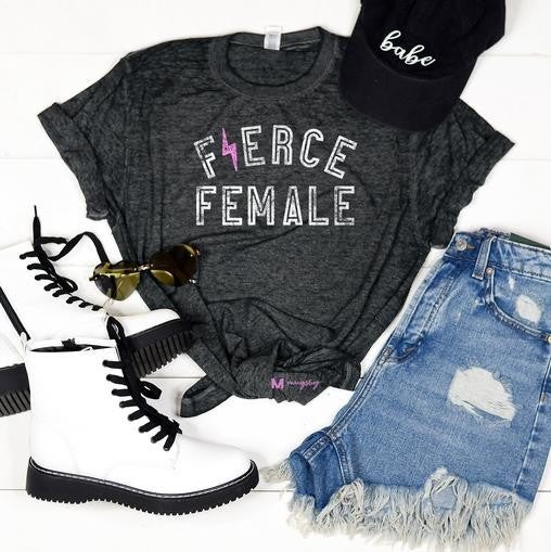 Black Acid Wash FIERCE FEMALE Burnout Tee