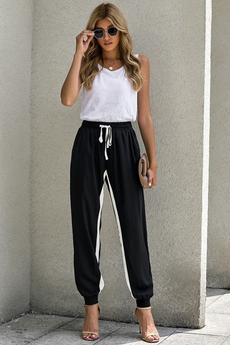 Black Casual Inside Stripe Drawstring Joggers