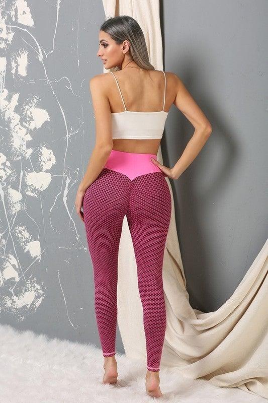 Textured Scrunchie Butt 2 Tone High-Waist Leggings