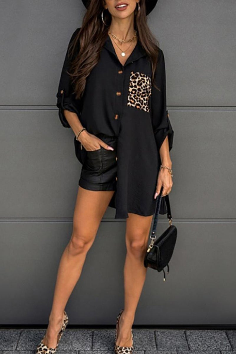 Black Cheetah Pocket Button Down Long line Shirt