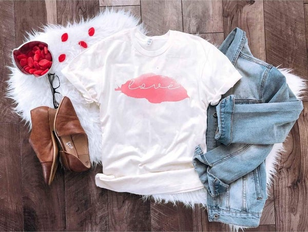 Cream LOVE Watercolor Valentines Day Graphic Tee