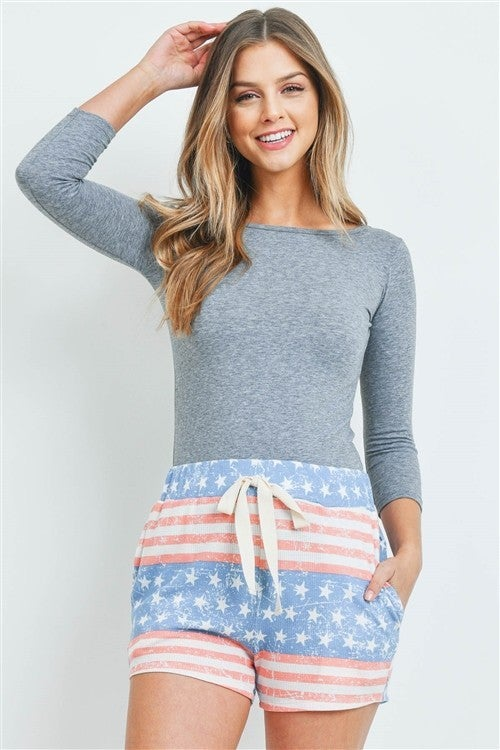 American Flag Self Tie Pocket Shorts