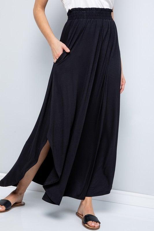 Jersey Knit Smocked Waist Dolphin Hem Maxi Skirt with Pockets