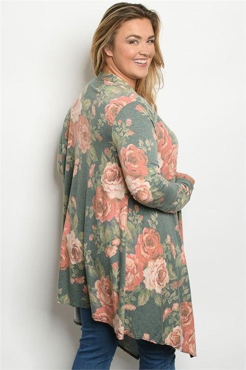 Olive & Pink Vintage Floral PLUS SIZE Long Line Cardigan