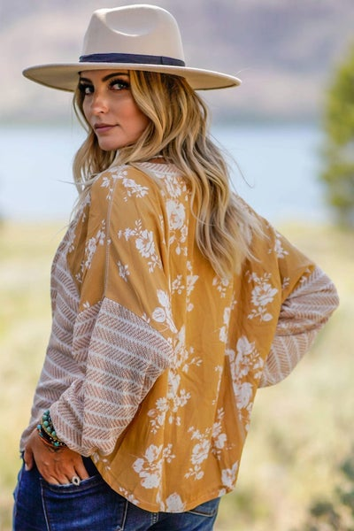 Mustard Chevron Stripe Floral Spliced Lantern Sleeve Top