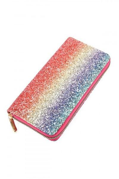 Bright Multi Color Ombre Glitter Zipper Wallet