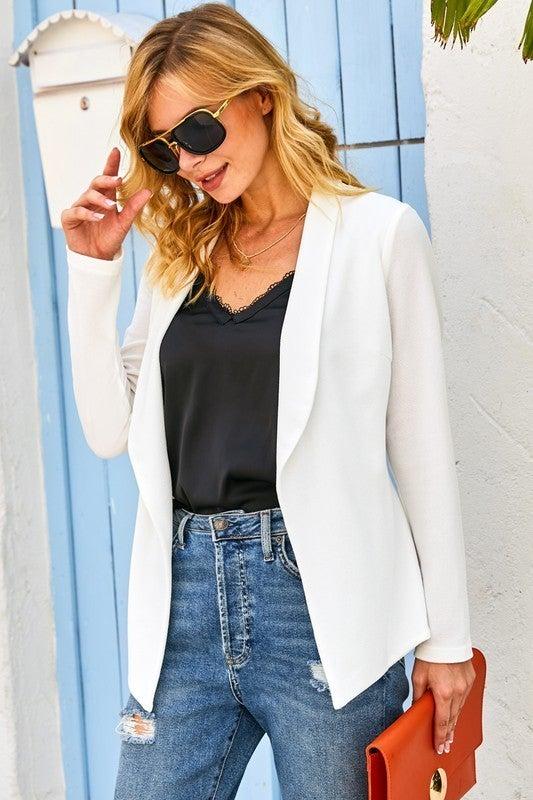 Tailored Long Sleeve Draped Blazer