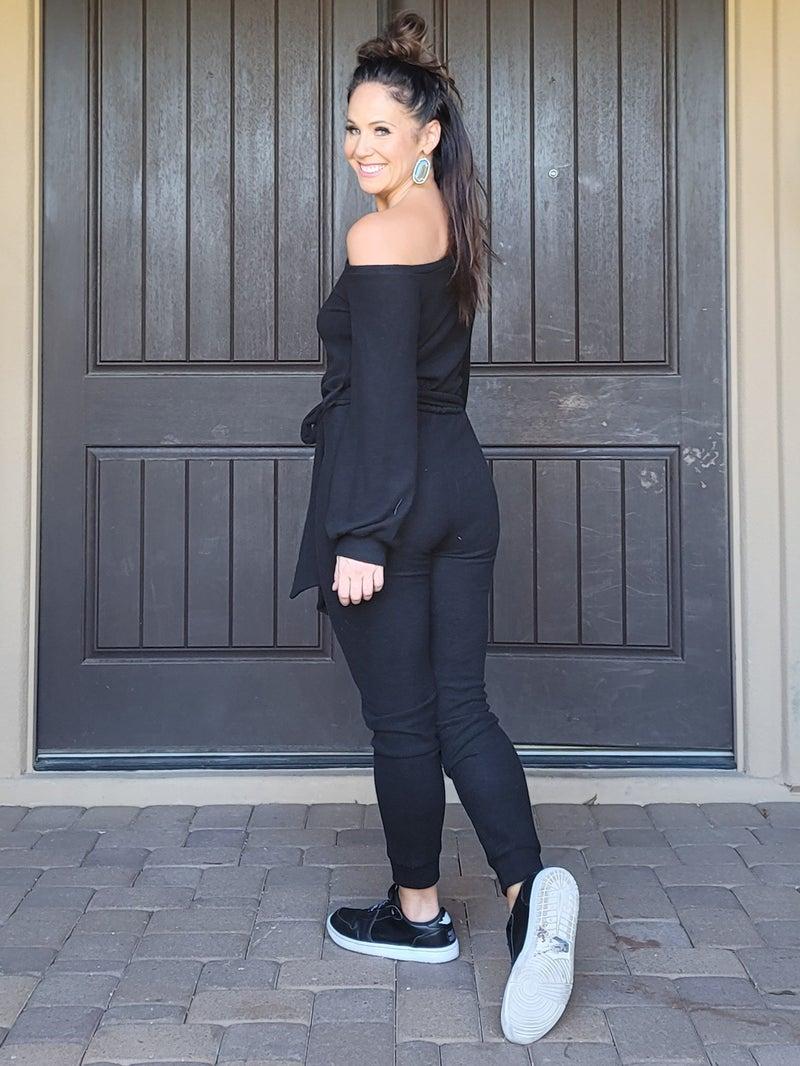 Black Casual Off the Shoulder Long Sleeve Tie Belt Hacci Jogger Jumpsuit