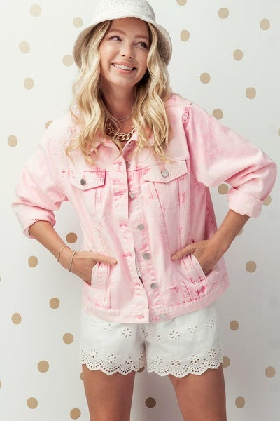 Bright Pink Distressed Denim Jacket