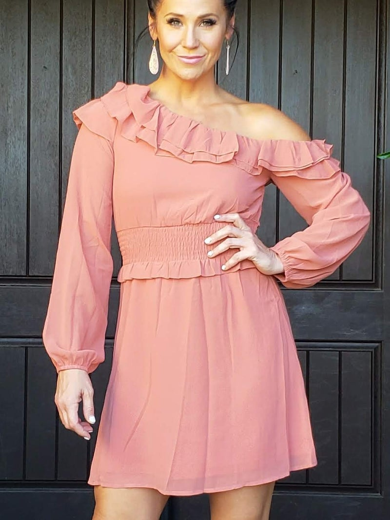 Rusted Mauve Long Sleeve Off One Shoulder Ruffled Neckline Chiffon Dress