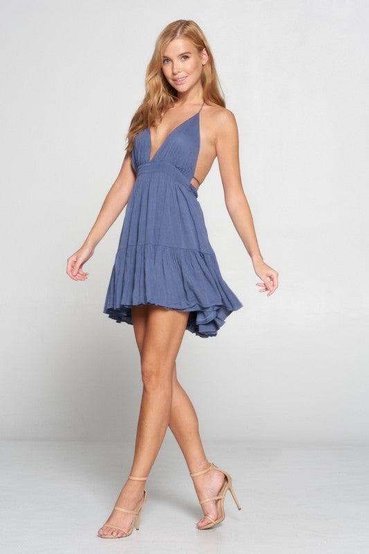 Rayon Halter Deep V Low Back Tiered Ruffle Dress