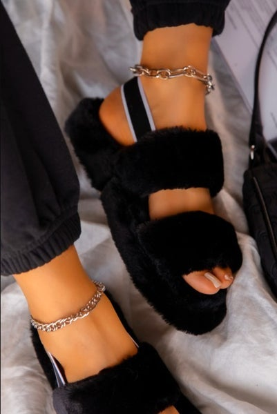 Black Furry Double Strap Elastic Back Slipper Sandals