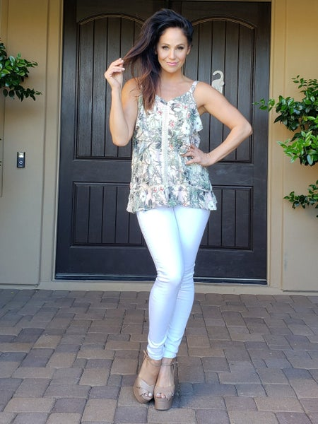 Peach & Olive Floral V-Neck Ruffle Detail Tunic Tank Blouse