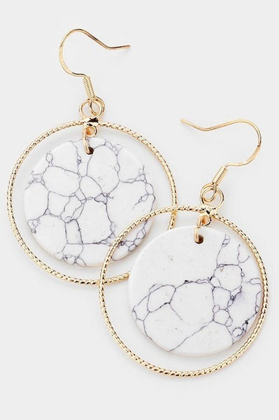 "Marble and Gold Open Circle Stone 2"" Drop Dangle Earrings"