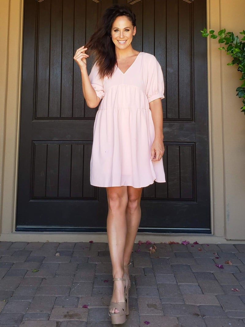 Blush V-Neck Bubble Sleeve Babydoll Dress
