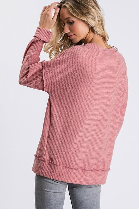 V-Neck Waffle Knit Long Sleeve Casual Top