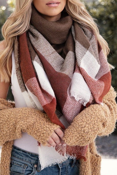Maroon & Brown Plaid Knit Blanket Scarf