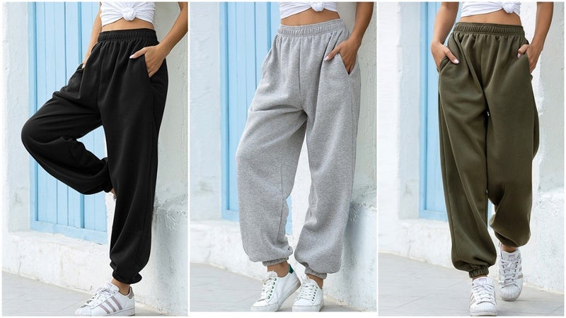 Casual Boyfriend Fit High Wasit Joggers with Pockets