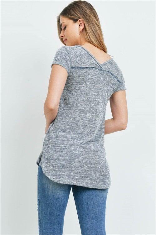 Grey V-Neck & Back Inside Out Stitched Super Soft Tee