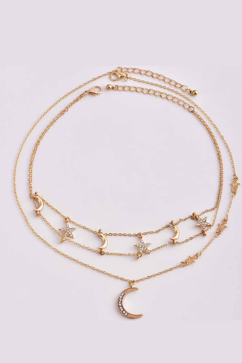 Tiered Moon & Stars Gold and rhinestone Chocker Necklace Combo
