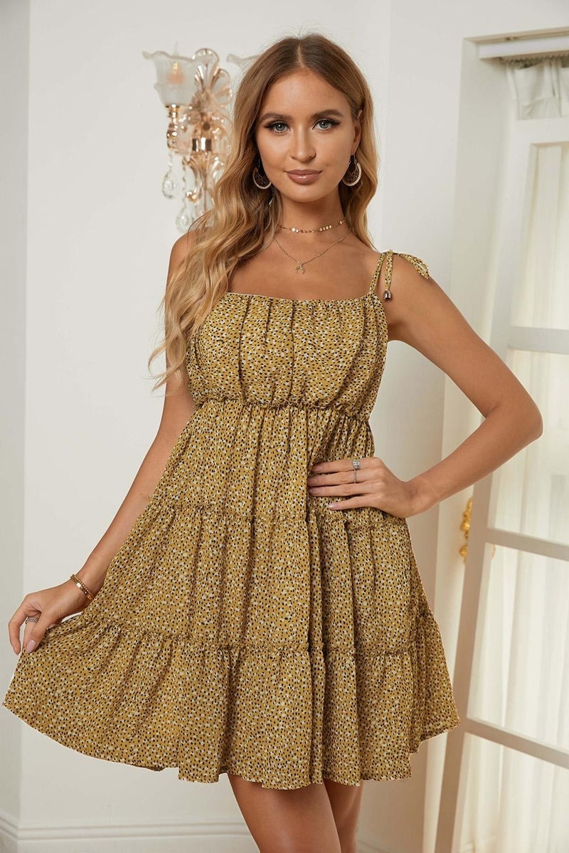A-Line Tiered Ruffle Tie Shoulder Summer Dress