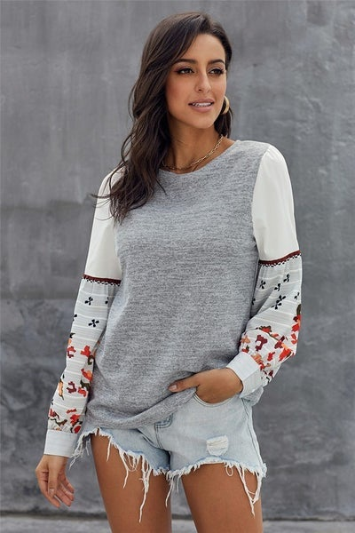 Contrast Billowy Sleeve Button Cuff Crew Neck Top