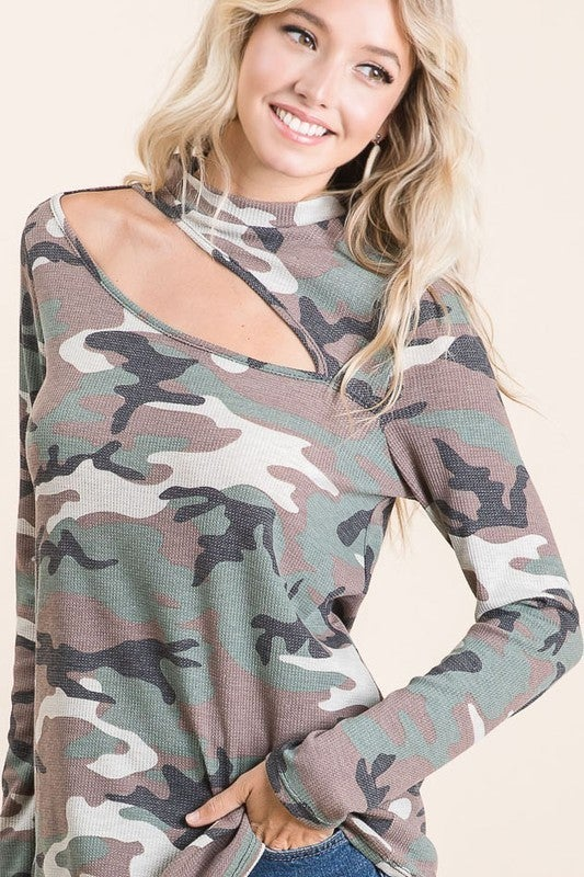 Olive Camo Thermal Mock Neck Cutout Long Sleeve Top