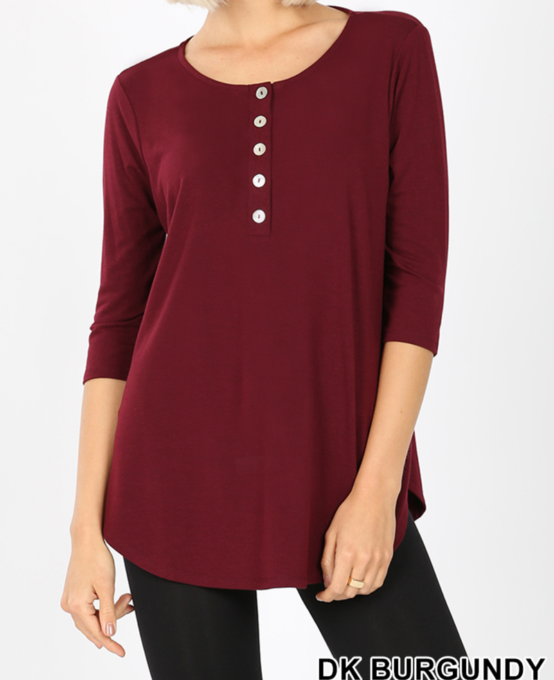 Deal of the Day! Let's Be Friends 3/4 Sleeve Button Top