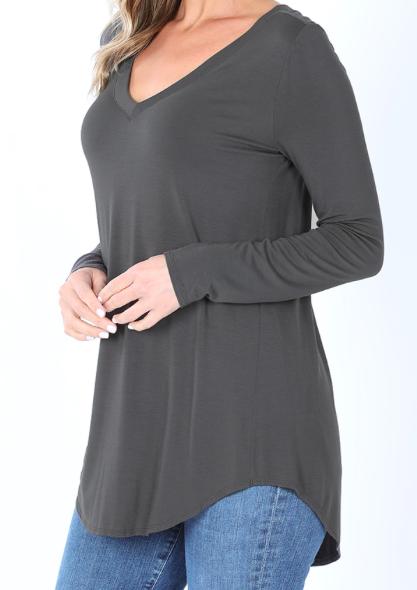 Comfort V-Neck Long Sleeve - Grey