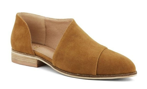 Pointed Toe Camel Slip On Shoes
