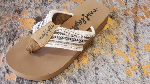 Gypsy Jazz Sandals - Cream and Black