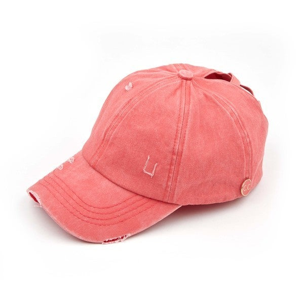 CC Criss Cross Pony Cap - Coral