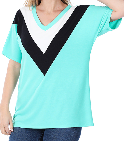 Deal of the Day!! Live Out Loud Chevron Top - Mint