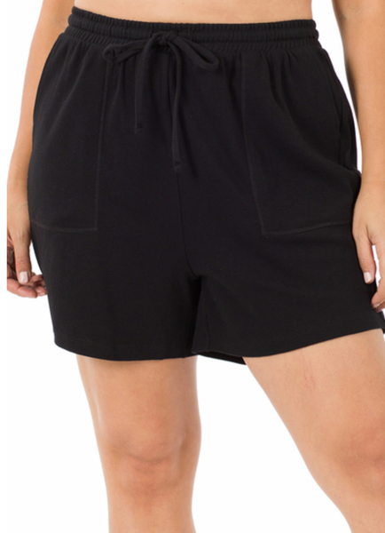 Easy Does it Drawstring Shorts- Black