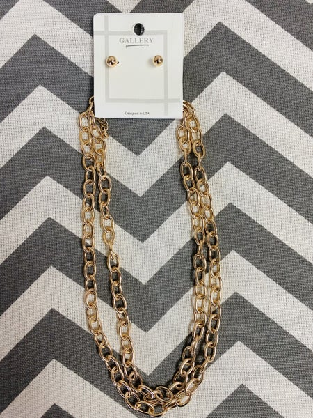 Double Strand Chainlink Earring/Necklace Set