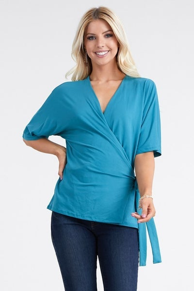 This Time Around Short Sleeve Surplice Top - Teal